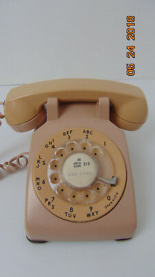 Vintage Beige Western Electric Bell System Rotary Dial Telephone Phone 500 Beige
