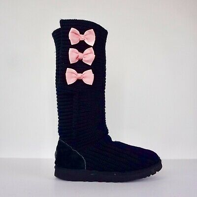 0d35defa5a1 UGG AUSTRALIA BLACK Sweater Boots with Pink Bows Knit Boots Uggs Womens  Size 7