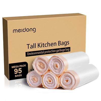 Meidong Bin Liners 50L Bin Bags with Drawstring Handle Trash Bags Unscented Bags