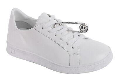 6c6dd3cdd59 Versus Versace Womens White Leather Safety Pin Lace Up Sneakers  IT35/US5~RTL$995