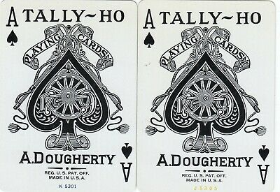 ACE of SPADES - set of 2  old wide single vintage swap playing cards