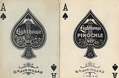 ACE of SPADES - DESIGNS - set of 2  old wide single vintage swap playing cards