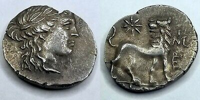 175-86BC Ancient Ionia Miletos AR Drachm Apollo / Lion - Asia Minor