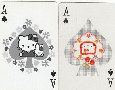 ACE of SPADES - Hello Kitty - 2  single vintage playing cards