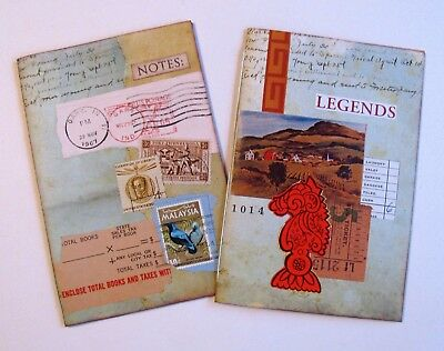 Handmade Notebook Junk Journal Blank Book Collage Covers Lot of 2 C