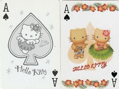 ACE of SPADES - Hello Kitty -- 2  single vintage playing cards