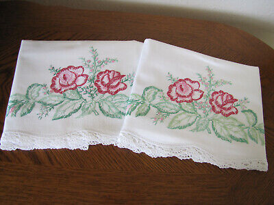 Vintage Pair of Pillowcases Embroidered & Crocheted Spray Of Roses & Buds Wow