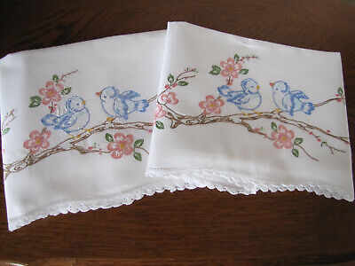 Vintage Pair of Pillowcases Embroidered Crocheted Blue Birds Cherry Blossoms Wow