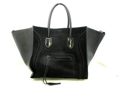 Auth CELINE Luggage Small Square Phantom Black Suede Patent Leather Tote Bag