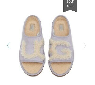 f1a066e6f48 NEW WOMEN'S UGG LOGO SLIDE SHEEPSKIN SUEDE SLIPPERS SIZE 7 Light ...