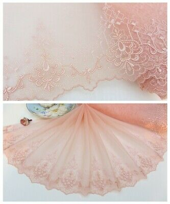 """10""""*1Y Embroidered Floral Tulle Lace Trim~Peach Pink~Summer Dance~Sewing/DIY~"""