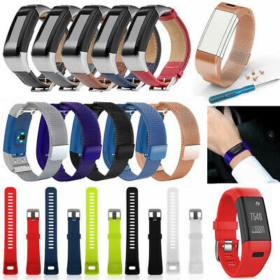 Leather Silicone Replacement Band Strap Wristband For Garmin Vivosmart HR/HR+ US