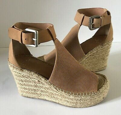 dd2864be46c B-362 MARC FISHER Annie Perforated Espadrille Platform Wedge SZ 7 M ...