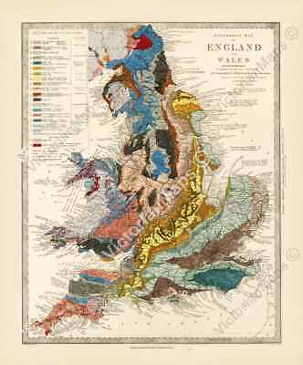Old Geological map England & Wales  R Murchison 1842 British geology art poster