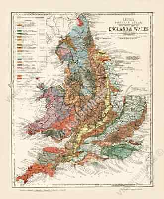 Old Geological map England & Wales Britain geology chart Bristow 1883 art poster