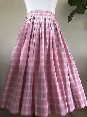 e6bfd9493f41 ViNTAGE PiNK GiNGHAM 50s SWiNG SKiRT PiCNiC ROCKABiLLY BiG BAND vLv 24