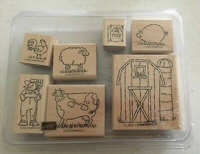 On The Farm Stampin'Up Rubber Stamp Set of 7 Cow Sheep Pig Barn