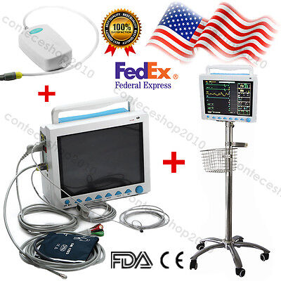 USA Fedex, CMS8000 ICU Patient Monitor+ETCO2+Rolling Stand Trolley Cart, FDA CE