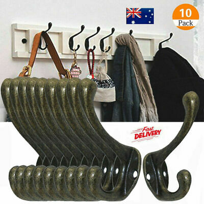 10 Hooks Vintage Antique Coat Hat Clothe Robe Wall Mounted Holder Door Hook Rack