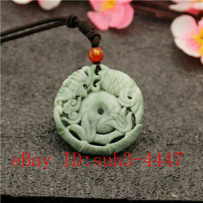 Green Chinese Jade Carp Bat Pendant Necklace Double-sided Carved Amulet Gifts