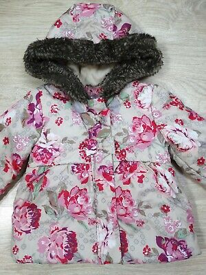 Monsoon Girls Hooded Winter Cream Floral Coat Jacket Age 12-18 Mths Size 1
