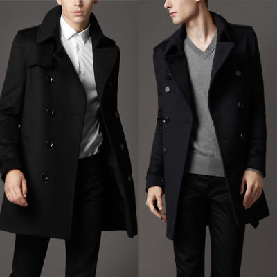 Mens Trench Coat Winter Long Jacket Double Buttons Breasted Overcoat Windbreaker