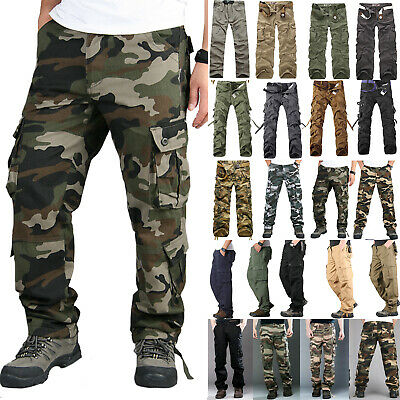 Men's Combat Tactical Work Cargo Army Pants Military Camouflage Casual Trousers