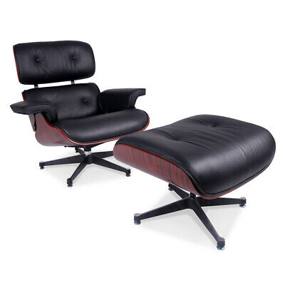 Premium Lounge Chair and Footstool Italian leather Armchair Recliner Club Chairs