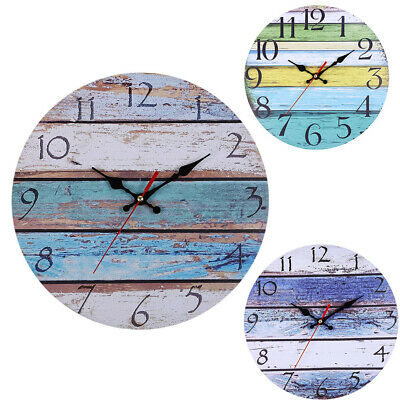 UK Retro Vintage Round Wall Clock Home Kitchen Garden Room Office Decor Shabby