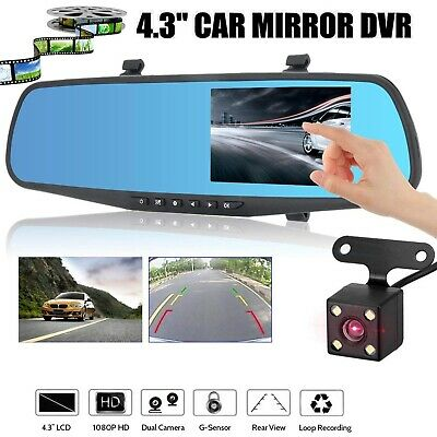 Car Camera Video Recorder Dual Lens DVR Dash Cam 1080P Rear view Mirror Black