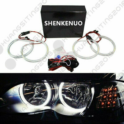 For BMW E46 3 Series Halogen Headlight White LED Angel Eyes Halo Rings w/Non-HID