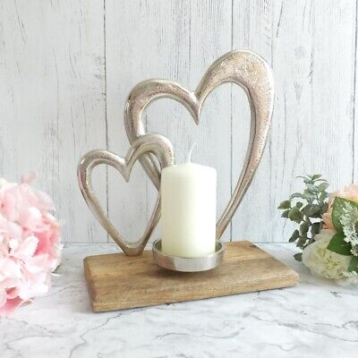 SILVER Rustic Style TWIN HEART Metal Wood TEALIGHT PILLAR CANDLE HOLDER
