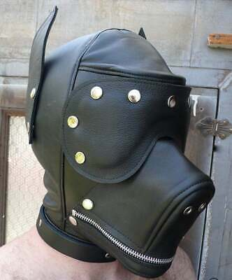 Black Leather Mask Hood Dog Bulldog Masquerade 300 00
