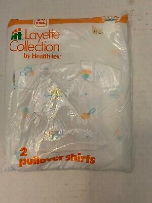 Vintage Health-Tex Layette Collection Baby Pullover Shirts Pack of 2 New 6-9mon