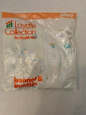 Vintage Health-Tex Layette Collection Baby Bonnet and Booties Set New Toy Patter