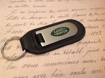 Land Rover Black Leather Key Ring Fob Etched Abd Infilled Defender Discovery D90