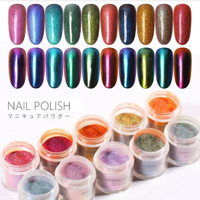10 Colors Holographic Nail Dipping Powder Dust Manicure Acrylic Dipping System