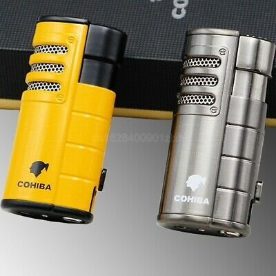 COHIBA Metal Windproof Cigar Cigarette Lighter 3 Torch Jet Flame W/Box Punch