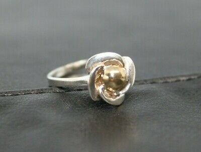 Vintage STERLING Silver Flower ring with GOLD overlay accent Ring sz 6 1/2