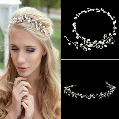Wedding Bridal Crystals Pearls Tiara Hair Vine Headband Flower Hair piece Party