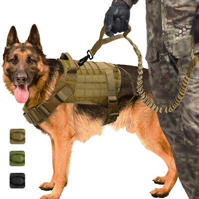 K9 Dogs Army Military Tactical Dog Harness Bungee Lead Waterproof for Training