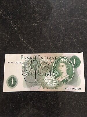 Old £1 English Bank Note One Pound England Very Good Condition Hx04 102732