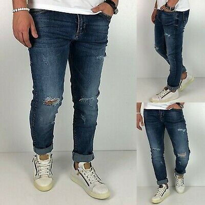 Young fashion destroyed Herren Style Skinny Röhre Blau Jeans Hose Basic Zerissen