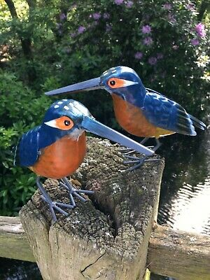 Pair of Hand Finished Metal Kingfisher Garden Bird Ornaments