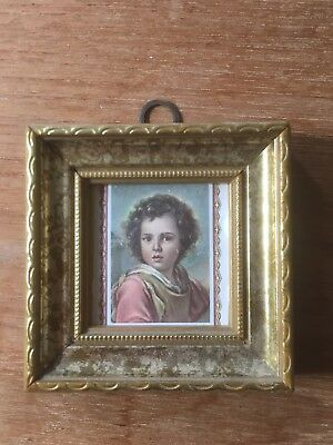 Miniature Rococo Style Gilt Gold Frame With Portraite Print Of Child