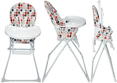 Portable Red Circle High Chair With Feeding Tray Padded Seat Foldable Highchair