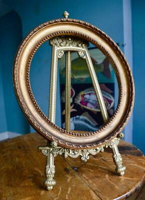 A FINE ANTIQUE VICTORIAN OVAL GILT GESSO PICTURE FRAME REBATE Portrait GOLD 19C