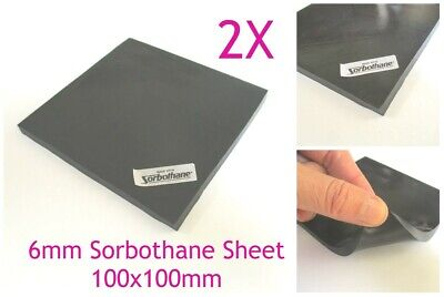 2X Sorbothane 6mm Anti Vibration Isolation Pad Sheet 100*100mm 1/4inch for audio
