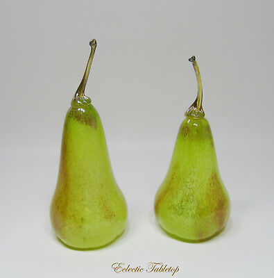 """Pair of Hand Blown Art Glass Signed Pear Sculptures - 8"""""""