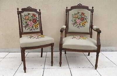 Pair Of 19th Century French Fauteuils Tapestry Carved Chairs Armchair